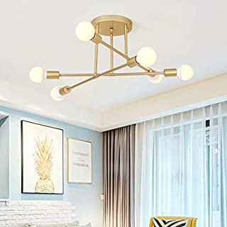 Industrial Chandelier Semi Flush Mount Ceiling Pendant Light, CraftThink 6 Lights in Wrought Iron Edison Bulb Style, Metal Modern Pendant Light for Kitchen Bathroom Dining Room Bed Room Hallway (Gold)