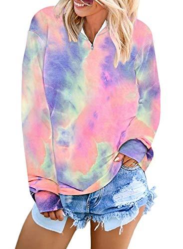 PRETTYGARDEN Women's Fashion Long Sleeve Tie Dye Print Sweatshirt Zipper Color Block Lapel Pullover Blouse Tops (Pink, Large)