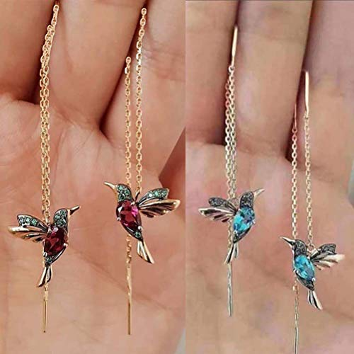 2 pares de pendientes largos de colibrí, colgante de pájaro, borla de cristal, pendientes para mujer