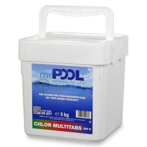 myPOOL Chlor MultiTabs 200g im 5,0 kg Eimer | Große langsam lösliche Multifunktionstabletten für Pools mit Sandfilter