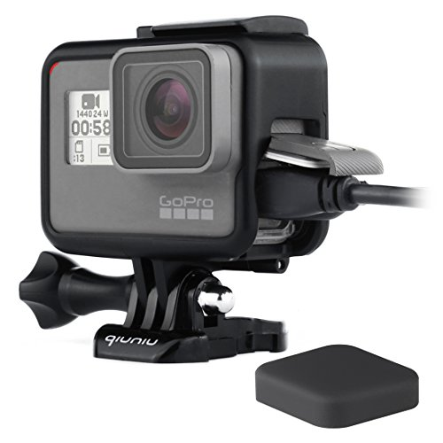 Frame Mount Housing Case for GoPro Hero 5/6/7 Black Action Camera - Protective Case with Quick Release Buckle, Long Thumb Bolt Screw, and Lens Cap - Black