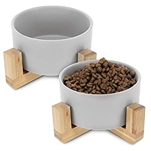 Navaris 2X Futternapf Katze mit Bambus Halter - Futterstation 2X Keramiknapf für Katzen Hunde - Keramik Fressnapf Set… 1
