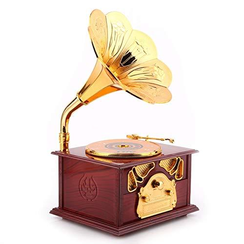 HEEPDD Caja de música de fonógrafo Retro, Caja de música de manivela de Madera Caja de música clásica de Trompeta de Oro Caja de música Regalos para cumpleaños Día de San Valentín Oficina(marrón)