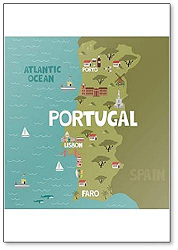 Imán para nevera, diseño de mapa de Portugal