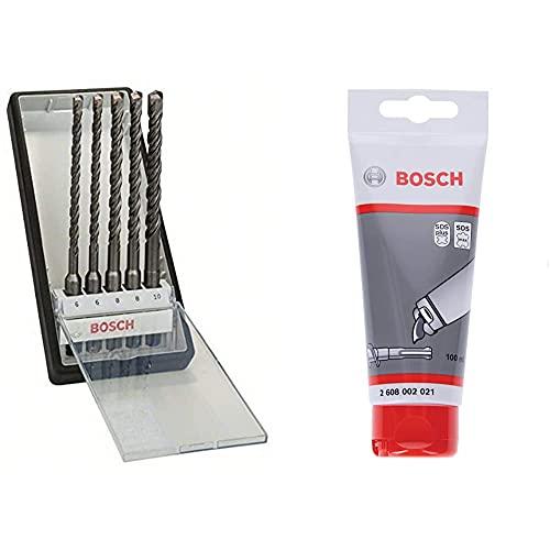 Bosch 2607019928 SDS Plus-5 Robust Masonry Drill Bit Set, 6mm/10mm, 5 Pcs + Bosch Professional 100 ml Grease Tube