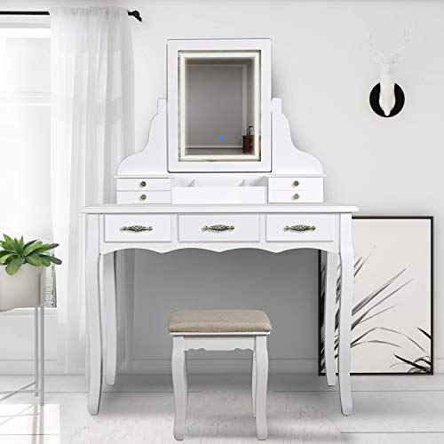 Buy Bargain SCYL Color Your Life Vanity Table Set with Lighted LED Mirror,7 Drawers Makeup Dressing ...