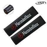 2Pcs Seat Belt Cover Shoulder Pad Shoulder Pads for Mercedes Benz All Models,Embroidered car Logo Black Leather Car Seat Safety Belt Strap Cover