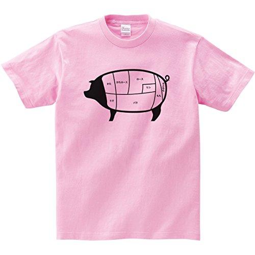 [幸服屋さん] お肉の部位シリーズ 豚肉部位 Tシャツ(半袖) AM63 L ピーチ