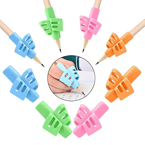 8 Stück Bleistift Halter,Stiftgriffe,Ergonomische Bleistift Griffe Silikon Schreibhilfe Grip für Kinder,Schreibhilfe für Stift Kinder Handschrift Schreiben Haltungskorrektur Werkzeug(4 Farben)