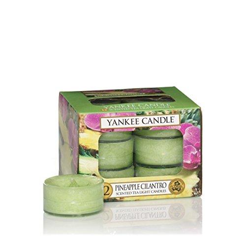 Yankee Candle Tea Light Candela, Pineapple Cilantro, Confezione da 12 Pezzi