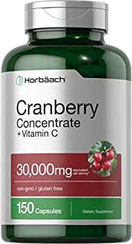 Horbaach Cranberry  30,000 mg  + Vitamin C 150 Capsules | Triple Strength Ultimate Potency | Non-GMO Gluten Free Cranberry Pills Supplement from Concentrate Extract