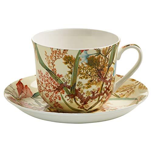 Maxwell & Williams wk00300Kilburn Taza de Desayuno con Plato, Taza de café, Taza, Cottage Blossom, en Caja de Regalo, Porcelana
