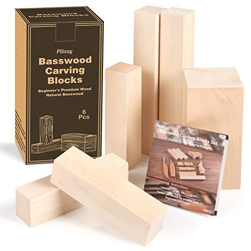 Pllieay 6-teilige Basswood-Schnitzblöcke, unfertige Weichholzblöcke in Mehreren Größen, DIY-Bastelblöcke aus Holz, natürliches Schnitzholz für Anfänger