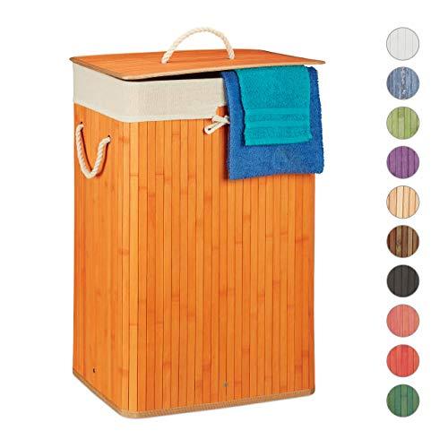Relaxdays, orange Wäschekorb Bambus, mit Deckel, rechteckig, XL 83 L, Faltbarer Wäschesammler, HBT 65,5 x 43,5 x 33,5 cm