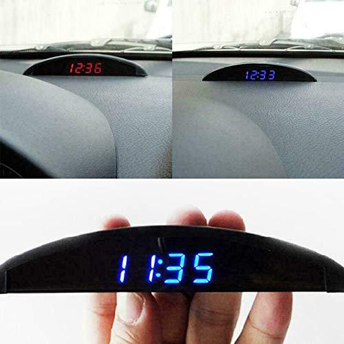 Suszian Autothermometer LCD-Uhr, 12V Digital LED Alarm Auto Elektronische Auto Uhr Voltmeter Thermometer