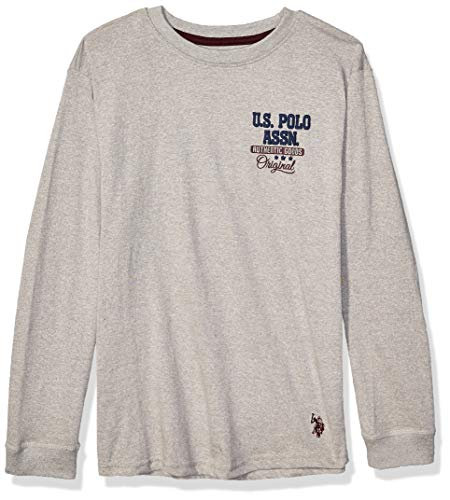 U.S. Polo Assn. Boys' Toddler Long Sleeve Back Hit Graphic T-Shirt, Marled Light Grey, 2T
