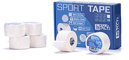 InTALYs Nastro sportivo, Sport tape, Nastro adesivo non elastico, Cerotto per taping e Bendaggi funzionali, Super adesivo, Facile da strappare, 100% Cotone, Professionale (3,8cm x 10mt, 6 Rotoli)