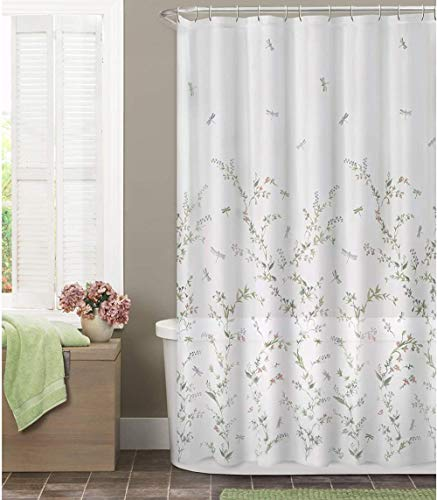 N/C Flower Vine Dragonfly Shower Curtain-Waterproof Bath Curtain-Bathroom Decor-Creative Home Ideas-Colorful Print Design-Curtain