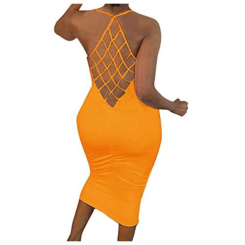 Xiangdanful Sommerkleid Damen Knielang, Sexy Neckholder Kleid Damen Einfarbig V-Ausschnitt Spitze Kurzarm Kleid Party Kleider Damen Sexy Damen Kleider Freizeitkleid Cocktailkleid Partykleider