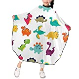 MSACRH Barber Cape for Kids,Cute Dinosaurs Baber Cape Haircut Apron,Waterproof Haircuting Salon Cape with Adjustable Snap Closure,39×47 in