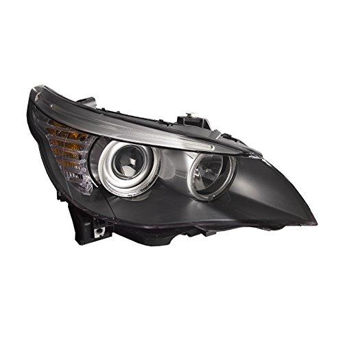 HEADLIGHTSDEPOT Black Housing Halogen Headlight Compatible with BMW 528i 535i 550i Includes Right Passenger Side Headlamp