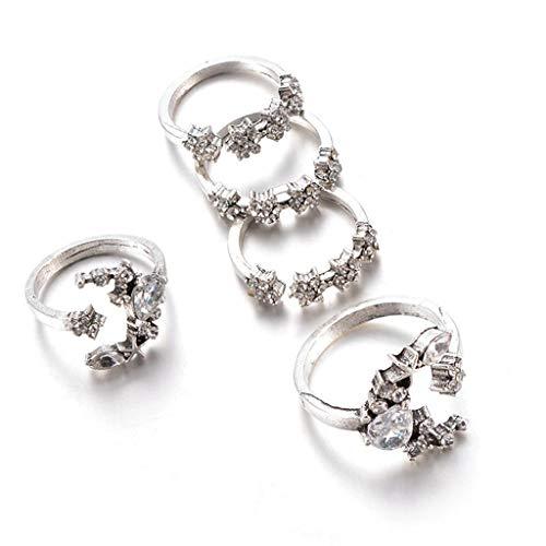 PULABO 5 Rings Set New Bohemian Vintage Women Alloy Star Moon Shape Finger Rings Silver Comfortable and Environmentally Lovely