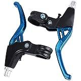 ASEOK Manija de Freno de Bicicleta Mountain Road Bike Palanca de Freno Manillar Frenos Universales para Bicicletas, Aleación de Aluminio Freno de Bicicleta 2.2cm Diámetro Un Par (Azul)