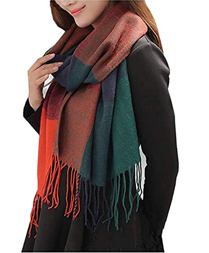 Wander Agio Womens Fashion Long Shawl Big Grid Winter Warm Lattice Large Scarf Orange Blue