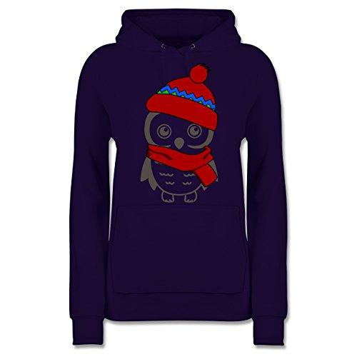 Winter Eule Schal Mütze - L - Lila - mütze grau - JH001F - Damen Hoodie und Kapuzenpullover für Frauen