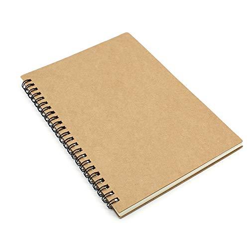 KiKiHong A5 Spiralblock Notizbücher Kraftpapierabdeckung 120 Seiten/60 Blatt Notizbuch mit Spiralbindung für Memos, Reisen Tagebuch, Schreibblock (Braun)