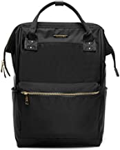 Lily & Drew Casual Travel Daypack School Backpack for Men Women and 14 Inch Laptop Computer, with Wide Doctor Style Top Opening (Black Nylon Medium)