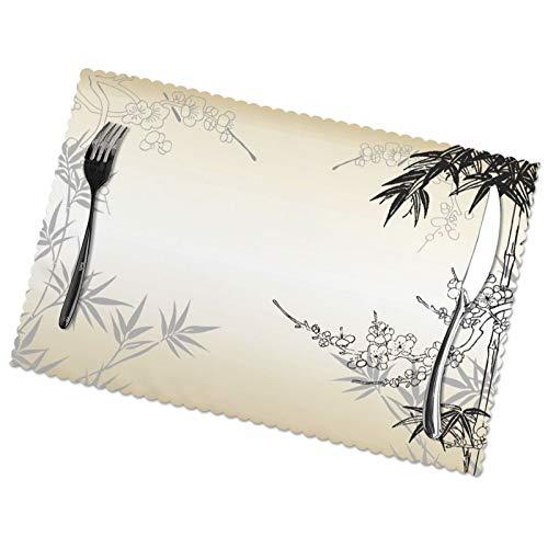 Juego de 6 manteles individuales para mesa de comedor, bambú y flores de cerezo, diseño de árbol de cerezo, estampado Zen de...