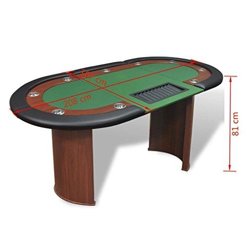 vidaXL Pokertisch für 10 Spieler mit Dealerbereich und Chipablage Grün - 9