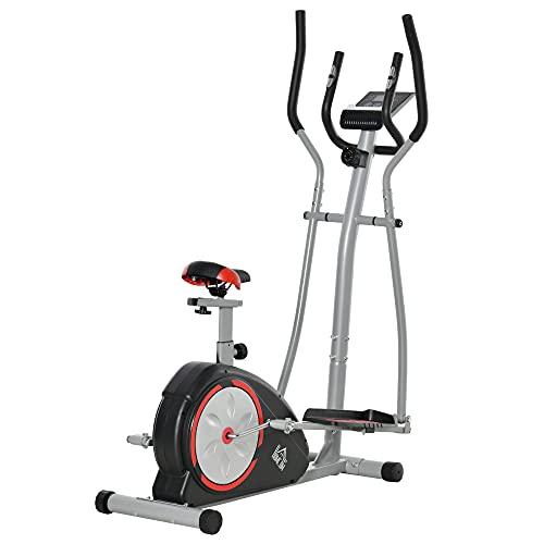 HOMCOM Bicicleta Elíptica de Fitness con Volante de Inercia 6kg Resistencia Magnética Ajustable Sillín Regulable Pantalla LCD Pulsómetro 130x68x162 cm Negro y Plata