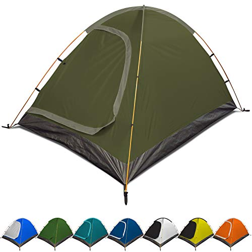 REVALCAMP 3-in-1 Camping Tent - Olive Green - Waterproof & Windproof 4 Season Tents for Camping, Backpacking & Hiking - Ultralight & Durable - Easy to Set-up 2 Person Tent