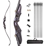 AMEYXGS 58 Inch Takedown Recurve Bow and Arrow Set 20-50 Lbs ILF Bow Riser Right Hand Longbow for Hunting Target Practice (Black, 20 Lbs)