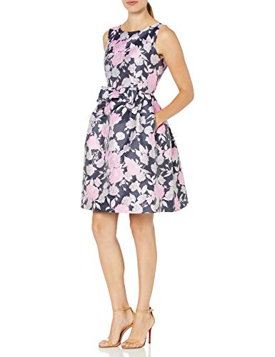 Tahari ASL Women's Sleeveless Bow Waist Floral Dress Cocktail, Navy Pink Silver, 18
