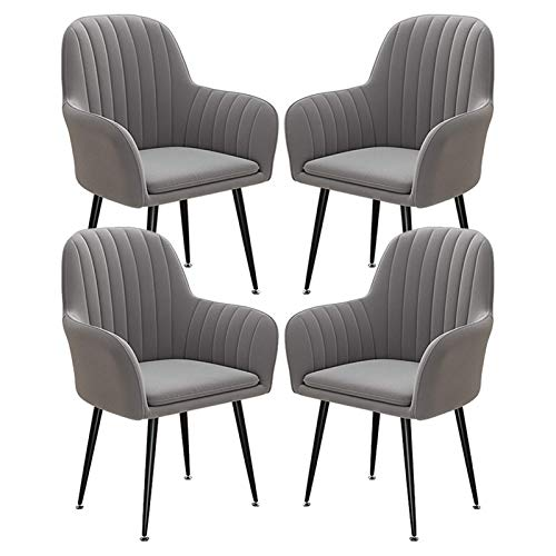Set of 4 Upholstered Kitchen Dining Chair Strong Metal Leg with Arms and Back Armchair Lounge Living Room Reception Tub Chair (Color : Gray)