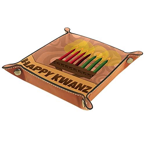 Bandeja de Juegos de Dados rodantes Plegable Bandejas de joyería cuadradas de Cuero y Reloj, Llave, Moneda, Caja de Almacenamiento de Dulces Vela Kwanzaa Vintage