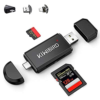 KiWiBiRD USB C USB-A SD Micro SD Easy Card Reader, Type-C Micro USB Memory Card Adapter for SDXC SDHC TF UHS-I Cards Compatible with MAC, iPad Pro MacBook Pro, Galaxy Tab S5e S6, Tab A, Android Phone