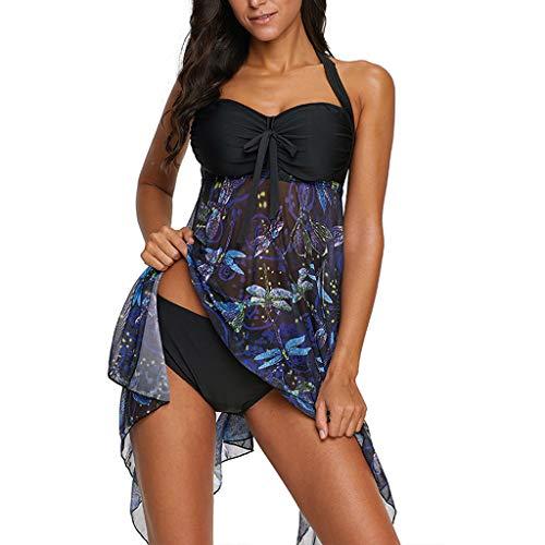 Tankini Damen Push Up Bikini Set Bandeau Top Gepolstert Tankini Figurformender Badekleid mit Röckchen Badeanzug Schwimmanzug Welle Tankini für Mollige Große Größe (S, Schwarz)
