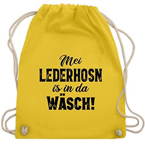 Shirtracer Oktoberfest Kind - Mei Lederhosn is in da Wäsch! - schwarz - Unisize - Gelb - Meine lederhose ist in der Wäsche - WM110 - Turnbeutel und Stoffbeutel aus Baumwolle