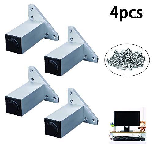 4 sets van aluminiumlegering kabinet voeten met 6-40cm hoge vierkante meubelbeslag steunpoten voor TV-meubel koffietafel sofa kast bed,18cm