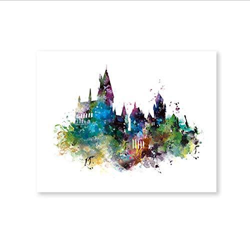 yhnjikl Harry Potter Arte Decoración Hogwarts Castillo Lienzo Pintura Niños Habitación Boy, Acuarela Castillo de Hogwarts Arte en Lienzo Impresiones Poster 40X60Cm Sin Marco
