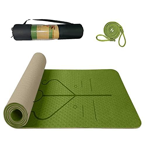 Tappetino Yoga Antiscivolo TPE, Tappetino Palestra per Fitness Pilates e Ginnastica, Yoga Mat 100% Ecologico , con Linea di Posizione con Tracolla e Borsa 183 * 61 * 0.6cm (Erba verde)
