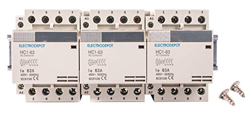 Electrodepot 40 Amp 12 Pole (4 Pole x 3) Normally Open, 110-120VAC Coil (Silent Operation), Motor Load 40A and Lighting Load 63A Contactor Bundle with 8