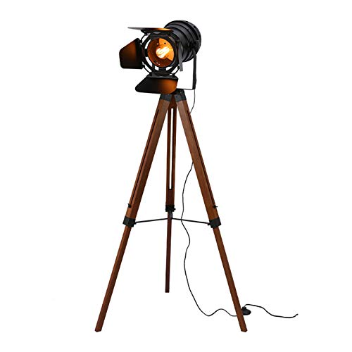 AZYJBF Industrial Spotlight Tripod Floor Lamp Searchlight Height Adjustable Rotatable Shade E27 Single Head Do The Old Wooden Tripod Standing Lamp with Foot Switch for Studio Study Room and Office