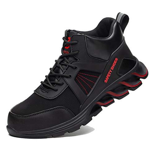 Zapatos de Seguridad Hombre Mujer Ligero Calzado de Trabajo Zapatillas con Punta Acero Industrial y Deportiva Transpirable Seguridad Cómodas Antideslizante Anti Aplastamiento Blackred41