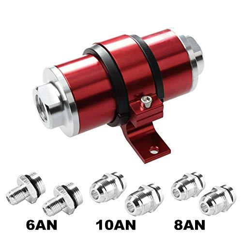 BETTERCLOUD 30 Micron AN6 AN8 AN10 Billet Aluminum Inline Fuel/Petrol/Gas Filter+Bracket Red