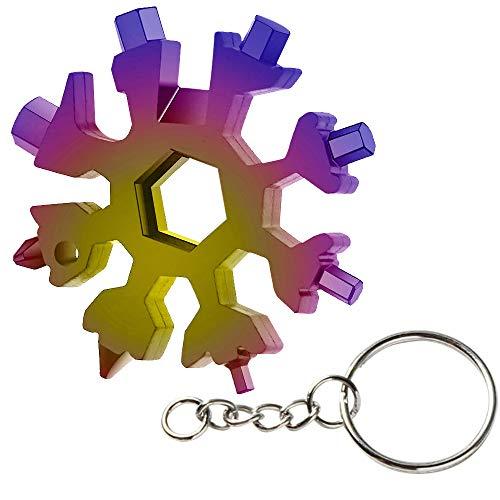 Schneeflocke Multi-Tool, 18-in-1 Tragbares Edelstahl-Multifunktionswerkzeug Portable Schlüsselbund Schraubendreher Flaschenöffner (4)